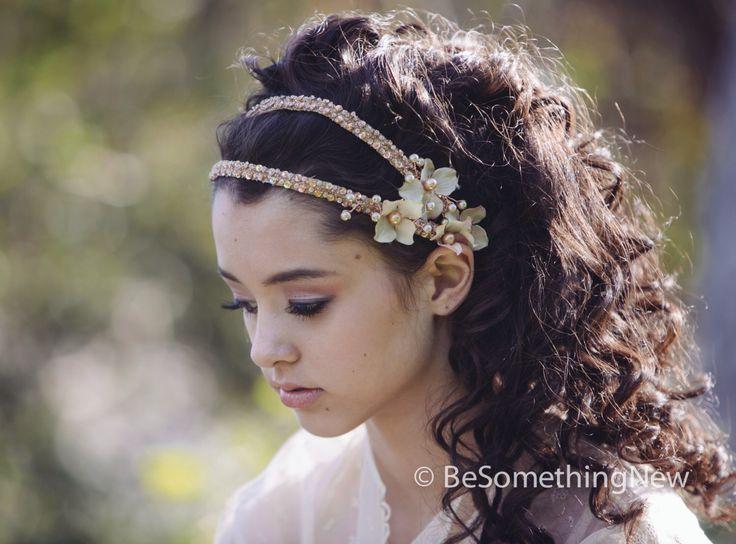 Beaded Double Tie Blush Wedding Headband with Flowers and Beading , Boho Wedding Hair, Wedding Headpiece, Bridal Headband, Ribbon Tie door BeSomethingNew op Etsy https://www.etsy.com/nl/listing/123088245/beaded-double-tie-blush-wedding-headband