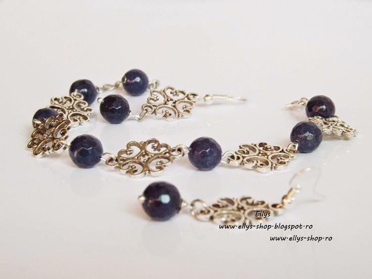 Ellys Shop: Set bratara si cercei margelute lazuli fatetate si...