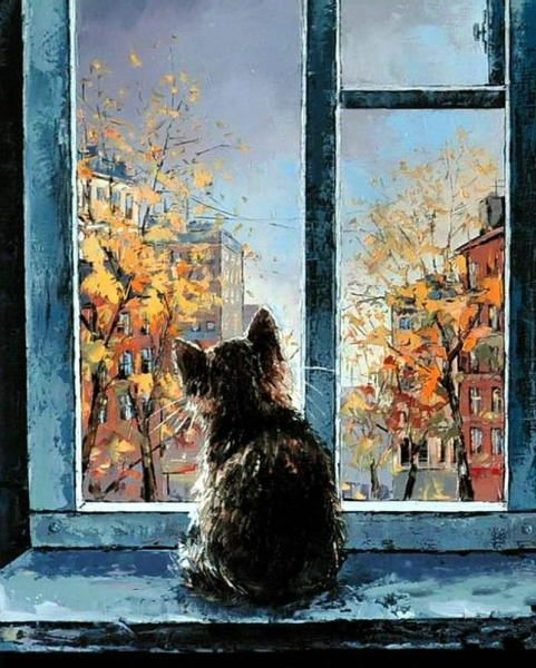 Cat in the window painting. Alexander Gunin - Cat in the Window