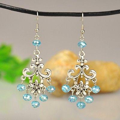 Fashion Tibetan Style Earrings, with Glass Beads and Brass Earring Hooks, DeepSkyBlue