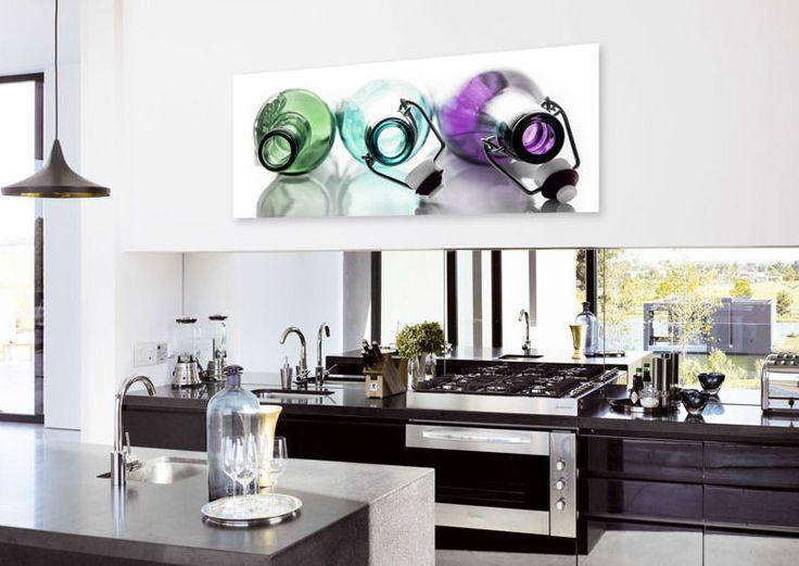 """DECO GLAS """"COLOURED BOTTLES"""" 125x50cm. € 95,90"""