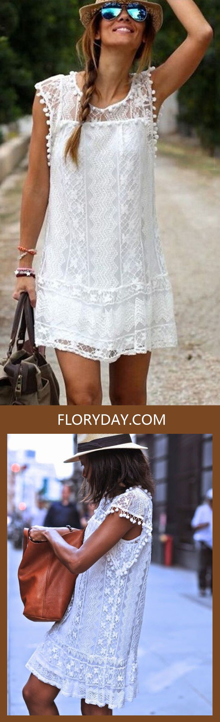 Searching for pretty lace dresses? Don't you love this pure-white lace dress?! I think it made my day, with my beautiful glass!  Find lace dresses in red, pink, cream, white, black & other colors as well as in short & long styles at floryday.com!