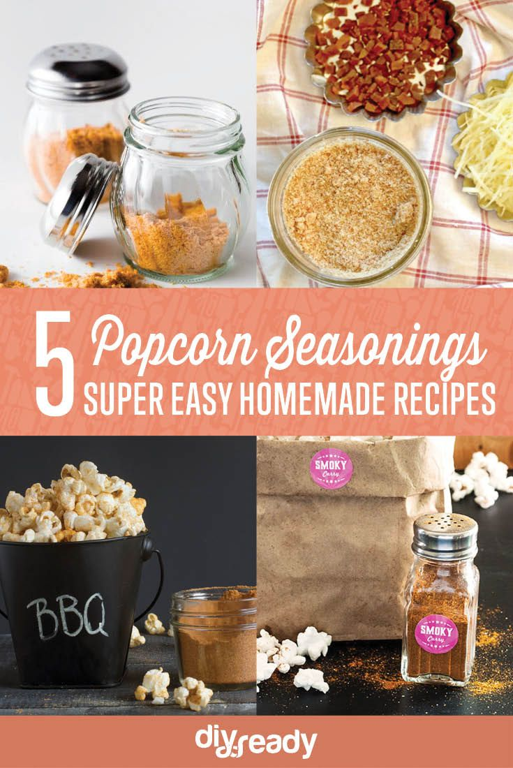 5 Easy Popcorn Seasoning Recipes, Nacho Cheese Powder, Smoky Curry, Bacon Parmesan Salt, Ranch Style & Barbecue by DIY Ready at http://diyready.com/homemade-popcorn-seasoning-5-popcorn-seasoning-recipes/