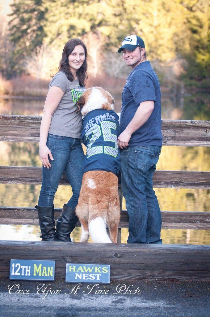 Seahawks Sherman St. Bernard Dog Engagement Photos saint bernard wedding pics seattle pictures