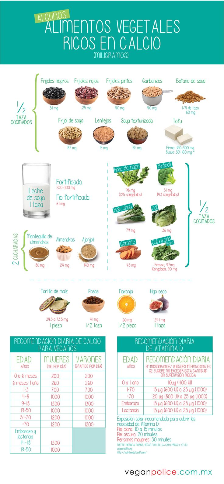 Infografía: alimentos vegetales ricos en calcio
