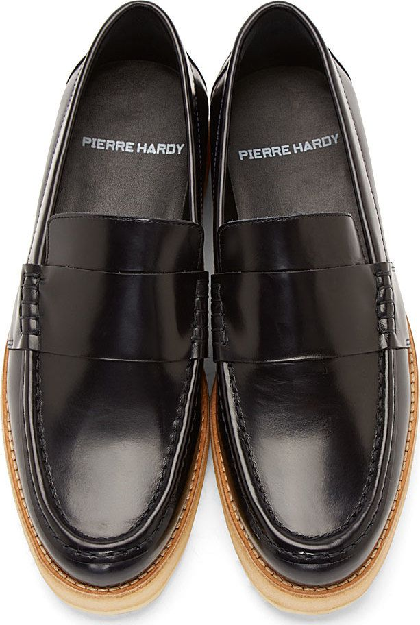 ‼️Pierre Hardy Navy Leather Penny Loafers