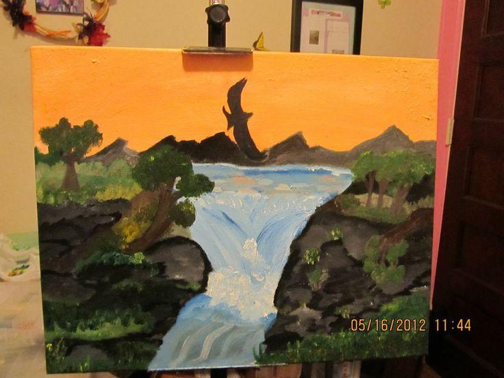 Original Beautiful Waterfall Painting