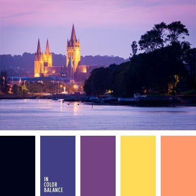 amarillo y violeta, anaranjado coral, anaranjado y violeta, azul oscuro y violeta, color cielo al atardecer, color de la iluminación, color luz de noche, colores de la puesta del sol, colores de la puesta del sol en una ciudad, de color azul ciruela, de color violeta, negro y amarillo, negro y violeta.