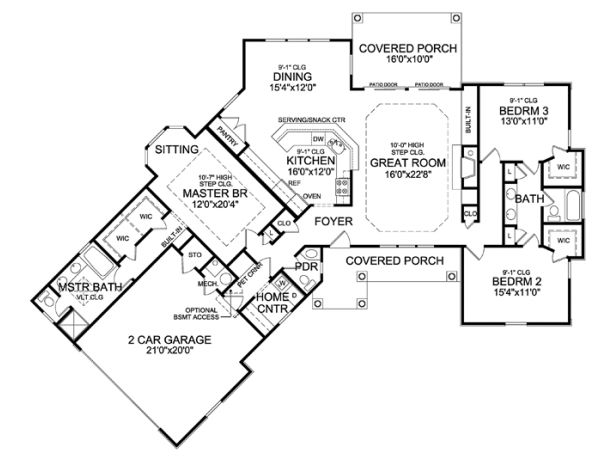 ePlans Country House Plan – Angled Ranch Boasts Dramatic Interior – 2065 Square Feet and 3 Bedrooms from ePlans – House Plan Code HWEPL75920