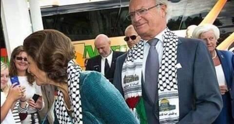 King and queen of Sweden wearing Palestinian scarves