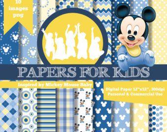 Documentos digitales, Mickey bebé, niños, invitación, Fondo, cumpleaños, bebé ducha, Imágenes Prediseñadas, papeles para niños