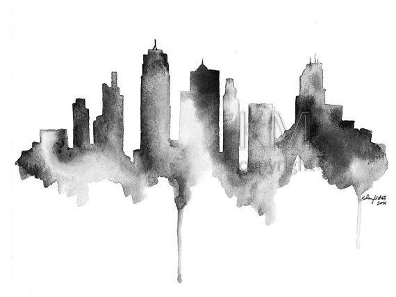Kansas City Skyline print of original watercolor painting - scenic wall art