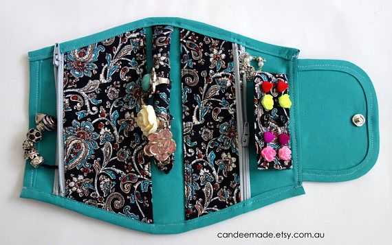 Small Portable Jewellery Holder With a Pretty Paisley Pattern!