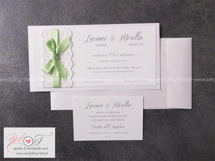 Partecipazione matrimonio elegante e raffinata con pizzo e nastro verde