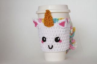 Unicorn Coffee Sleeve by Gabrielle Bares on Ravelry ~ fits 16 oz. coffee cup ~ FREE download - CROCHET