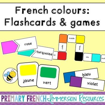 French colours - Flashcards and Games! Games and tools for teaching color / colour vocabulary to FSL students! #tpt #teacherspayteachers #frenchtpt #frenchimmersion #primaryfrenchimmersion #francais