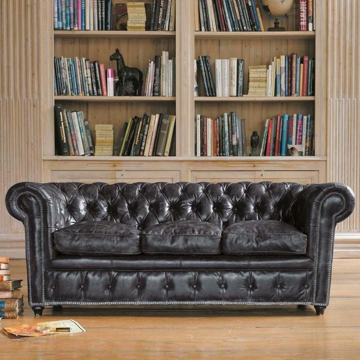 Sofá cuero negro  Vintage