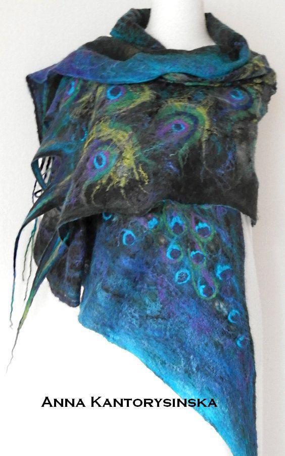 nuno felted silk scarf shawl wrap PEACOCK handmade art to wear, silk chiffon, wool, silk fibers, eco fashion by Kantorysinska