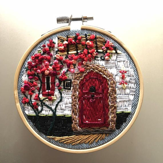 Nr. 11 Red – Hand Embroidery art piece, Embroidery hoop art, birthday gift, needle work, home decoration, housewarming, hand stitch
