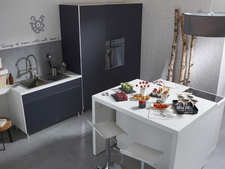 Cuisine Lapeyre Ilot Avec Plan Repas Sur Roulettes Kitchen Remodel Kitchen Makeover Kitchen Design