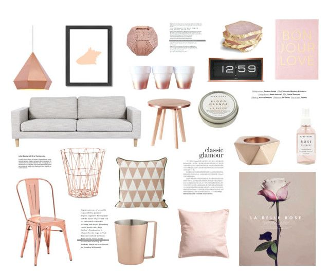 Rose rose gold by rheeee liked on polyvore featuring for Living room ideas rose gold