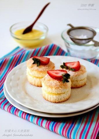 Lemon Angel Food Cake Sandwiches