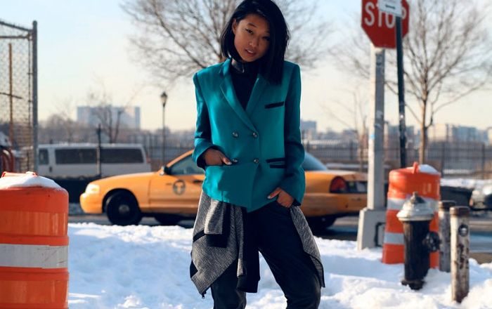 Margaret Zhange has winter layering down right with a bomber jacket around the the waist. Margaret Zhang of blog Shine By Three wearing Tibi's Pre Fall 2013 tweed knit bomber jacket during NYFW.