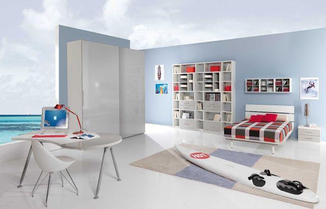 Decoration Salon Bleu Et Gris :  chambre #chambreacoucher #chambresport #deco #decorationchambre