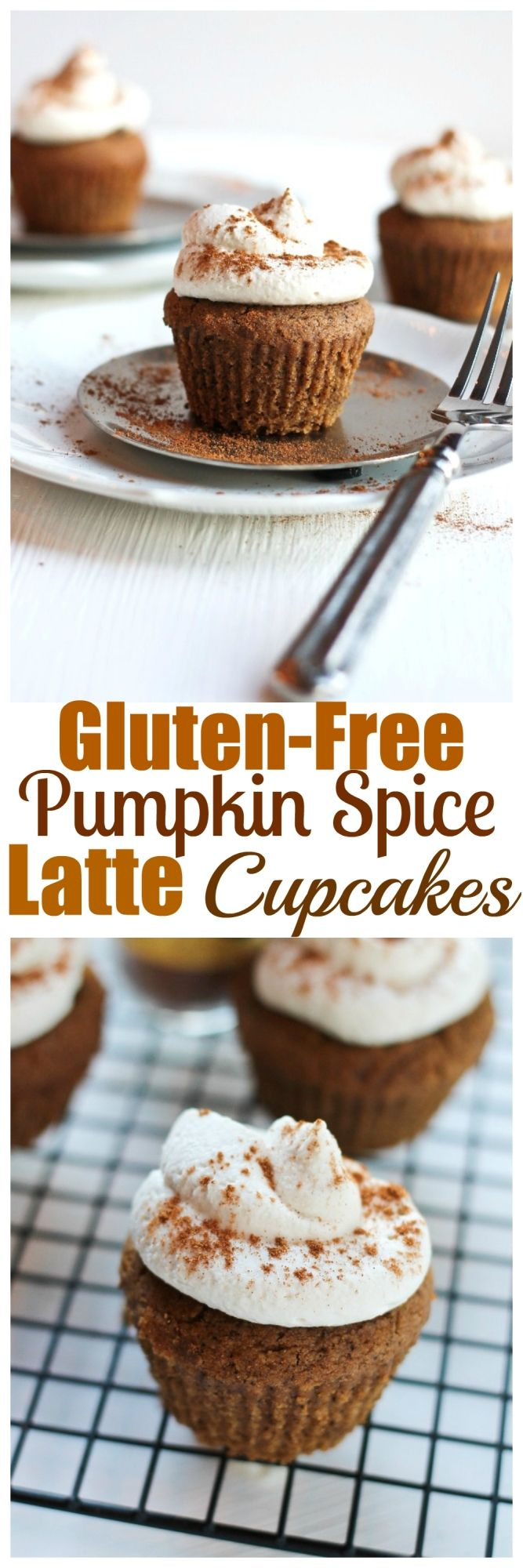Gluten-free Pumpkin Spice Latte Cupcakes. Vegan, gluten-free, oil-free and grain-free. These are to die for and topped with coconut whipped icing.