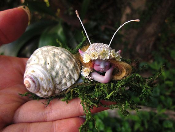 Cute & Tiny Mermaid Mersnail Fairy in Shell by by scarletsbones, $48.00