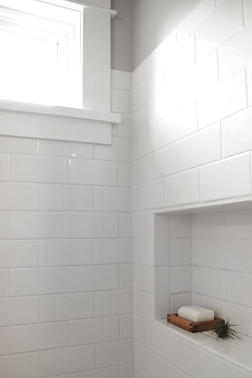 Subway tile gives this bathroom a white and bright feel. Our Metroline White AquaTile can help you get this look! http://www.decpanels.com/products/aquatile?utm_content=bufferd9416&utm_medium=social&utm_source=pinterest.com&utm_campaign=buffer #bathroom
