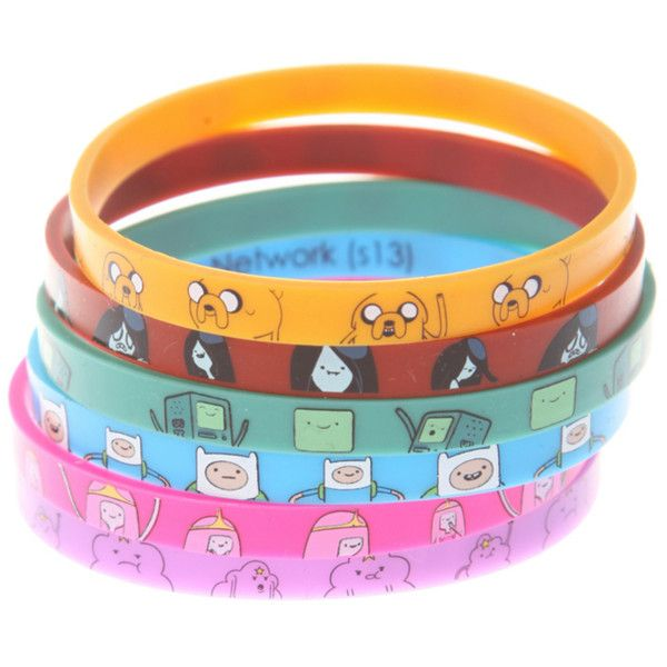 Adventure Time Characters Rubber Bracelet 6 Pack   Hot Topic ($11) ❤ liked on Polyvore featuring jewelry, bracelets, accessories, adventure time, rubber bangles and rubber jewelry
