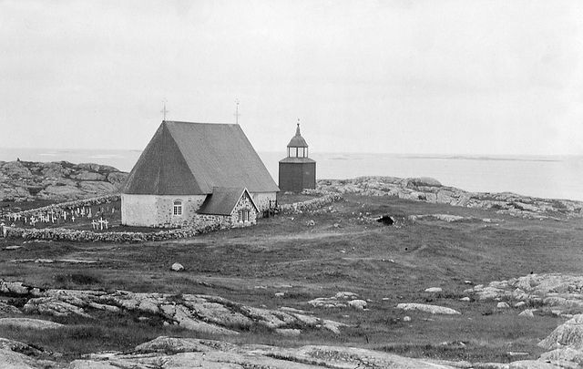 Kökar Church + Cemetary, Åland / Ahvenanmaa, Finland  c1890  Kökar Church at Åland islands in the Baltic Sea. The church at Kökar island was inaugurated in 17...
