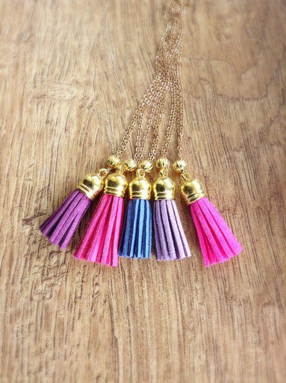 Blue Tassel Necklace Gold Blue Tassel Necklace by DanusHandmade