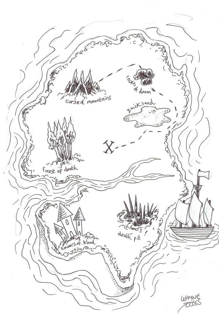 How To Draw And Create A Treasure Map Part 2 - Inking The Map