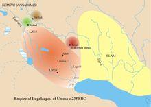 UMMA em 2.350 AC  UMMA foi uma antiga cidade da SUMÉRIA, bastante conhecida pelo conflito fronteiriço com LAGASH. A cidade alcançou seu ápice em 2350 AC. sob o governo de LUGALSAGGIZI, que também controlava URUK e UR.
