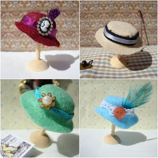 How to Make a Miniature Felt Hat for Dolls Tutorial here: http://miss-beatrix.blogspot.de/2012/05/how-to-make-miniature-hat.html