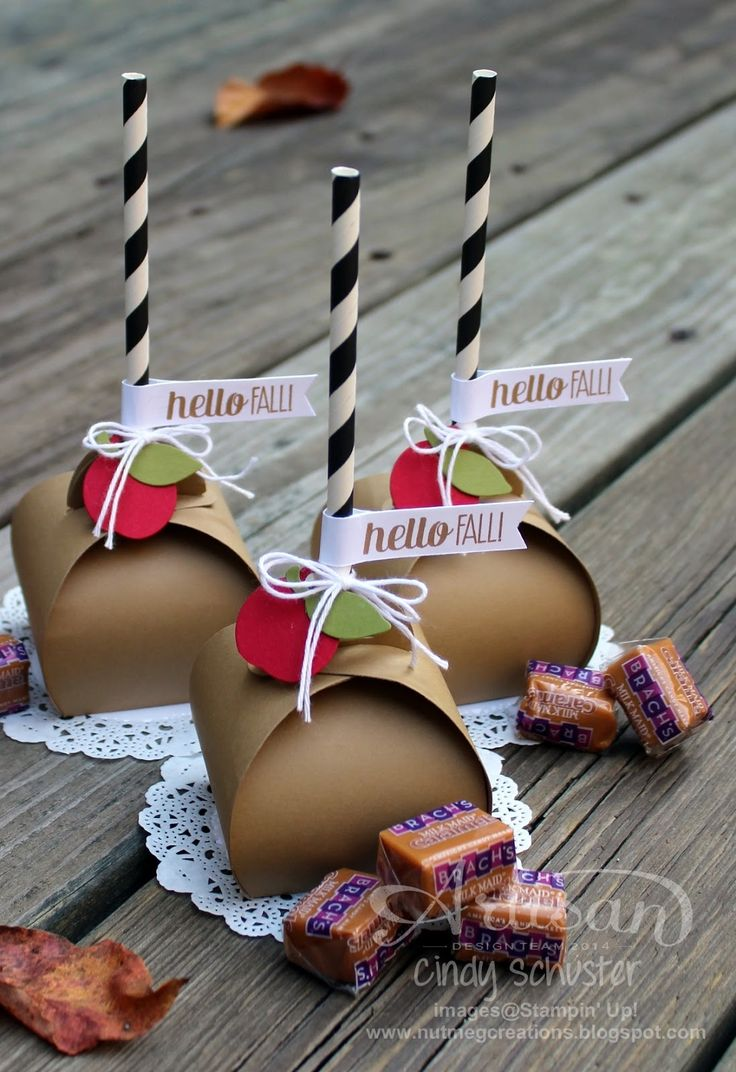 Caramel Apples made with the Curvy Keepsake Framelit Die Cut are easy AND sweet looking! ~ Cindy Schuster