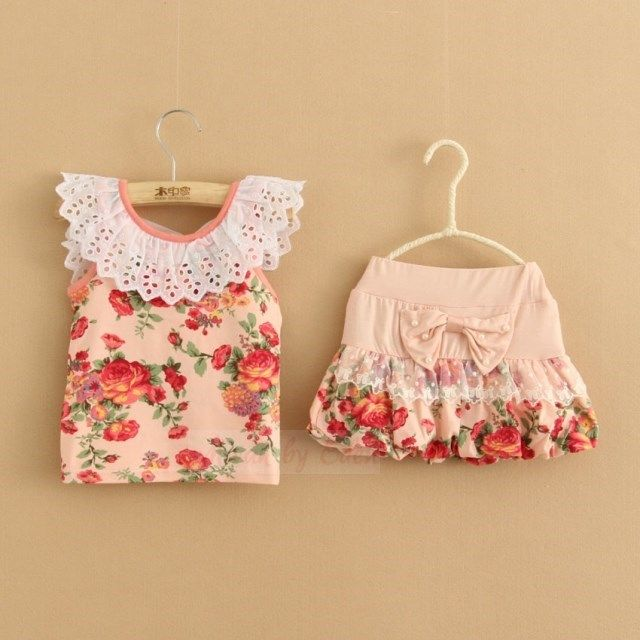 New Cute Girls Bow Top and Skirt Party Set Age 2 3 4 5 6 7 Years
