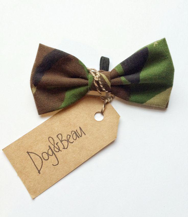 Camo dog bow tie, camo bow tie, camouflage print bow tie, doggy bow tie, gifts for dogs, gifts for pets by DogandBeau on Etsy