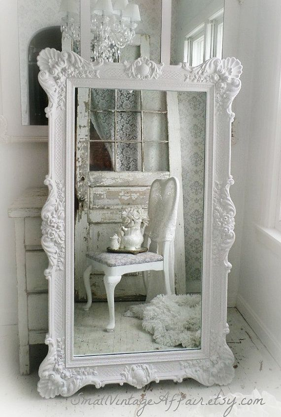 """H O L L Y W O O D   Vintage Leaning Mirror Floor Mirror Regency Shabby Chic Baroque.  You can create this look with Vintro Chalk Paint in """"pearl""""."""