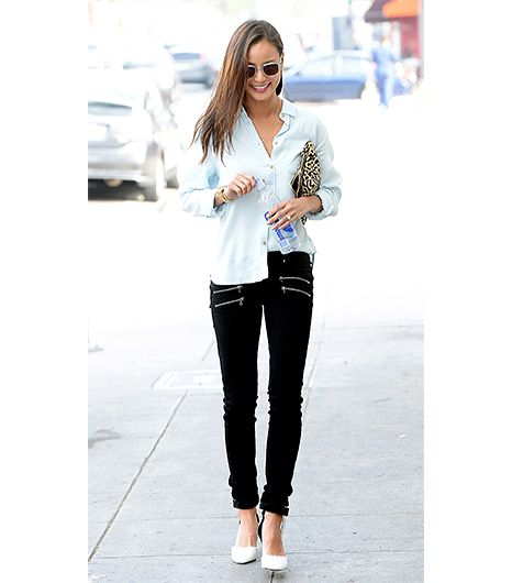 @Who What Wear - Jamie Chung                 Tip: Create a deliberately undone look with the half tuck.  The secret to this look's effortlessness? The strategic half tuck. The recently engaged Chung executed this blogger styling trick with American Eagle's Safari Button Down Shirt ($50) and Paige Denim's Edgemont Jeans ($219) in Kensington, accessorizing with Carrera sunglasses, Me Char's Brigid Pouch ($274) and Isabel Marant Patty Wedge Sandals ($674) in Black.