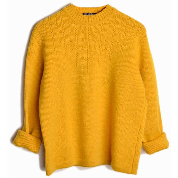Vintage 60s Austrian Wool Ski Sweater in Mustard Yellow women's medium (€53) ❤ liked on Polyvore featuring tops, sweaters, shirts, mustard shirt, crewneck sweaters, vintage ski sweater, yellow shirt and vintage sweaters