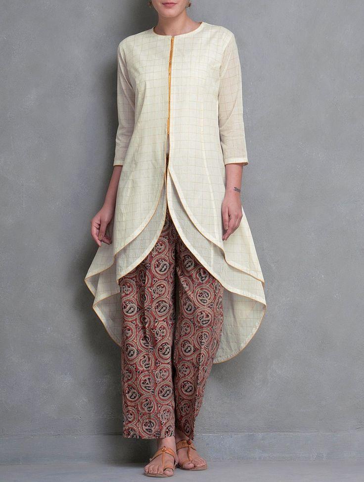 Buy Cream-Golden Zari Checks & Layered Asymmetrical Kerala Mangalgiri Cotton Kurta by HAR.YARN.V Online at Jaypore.com