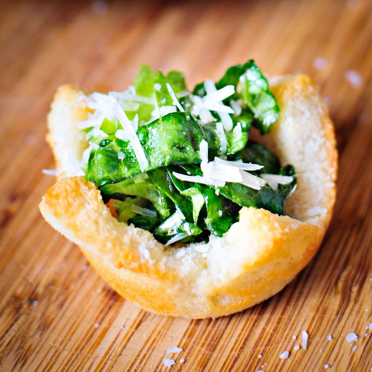 """Crouton Cups with Ceaser Salad """"Filling"""""""