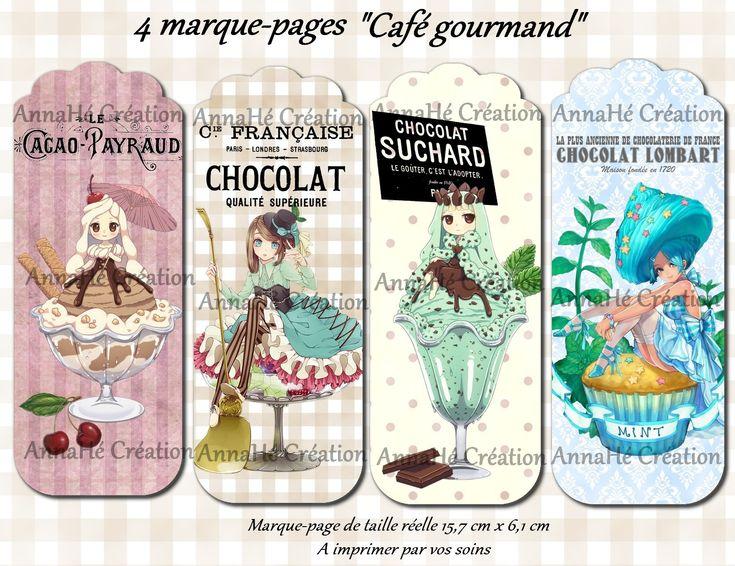 """4 marque-pages à imprimer """"Café gourmand"""" : Marque-pages par annahe-creation"""