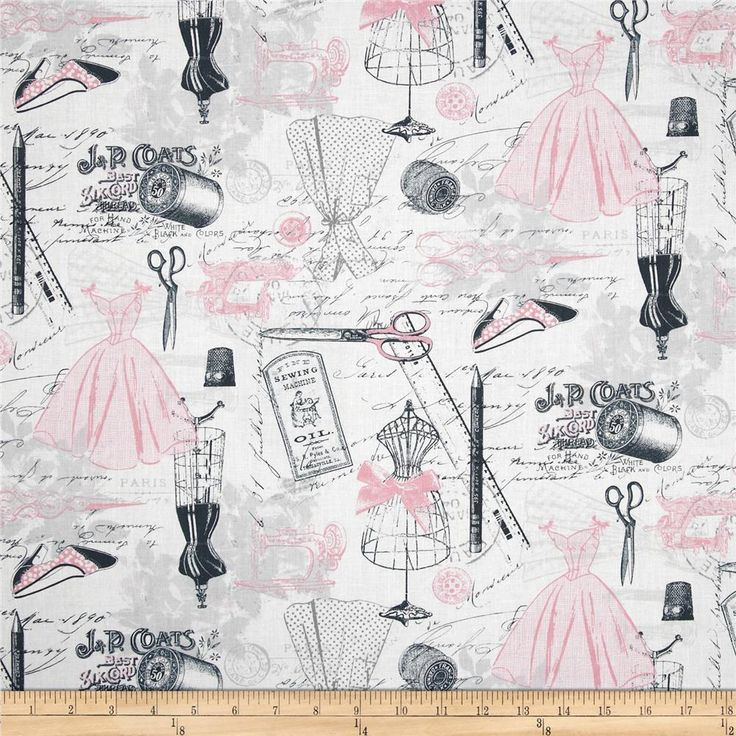 Timeless Treasures Dress Making Motifs Pink from @fabricdotcom  Designed for Timeless Treasures, this cotton print fabric is perfect for quilting, apparel and home decor accents. Colors include pink, steel and grey on a white background.