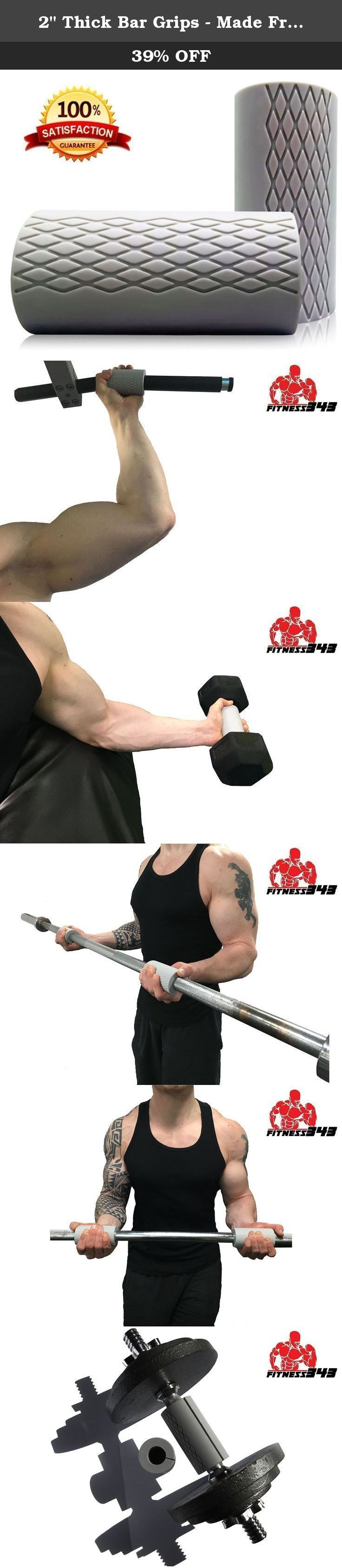 "2"" Thick Bar Grips - Made From Comfortable and Durable Non-slip Silicone Rubber - Easily Attachable to Any Bar - High Quality Manufactured - Will Last a Lifetime Guaranteed - 100% Fully Refundable. Use bar grips to rapidly increase forearm and bicep size and strength. Due to the 2 inch wider grip each repetition will target more muscle fibres in the arm making every workout more efficient at building muscle mass. Wider bars also reduce injury from high intensity workouts and reduce hand…"
