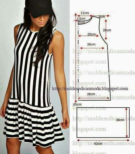 Pretty simple drop waist flounce dress pattern