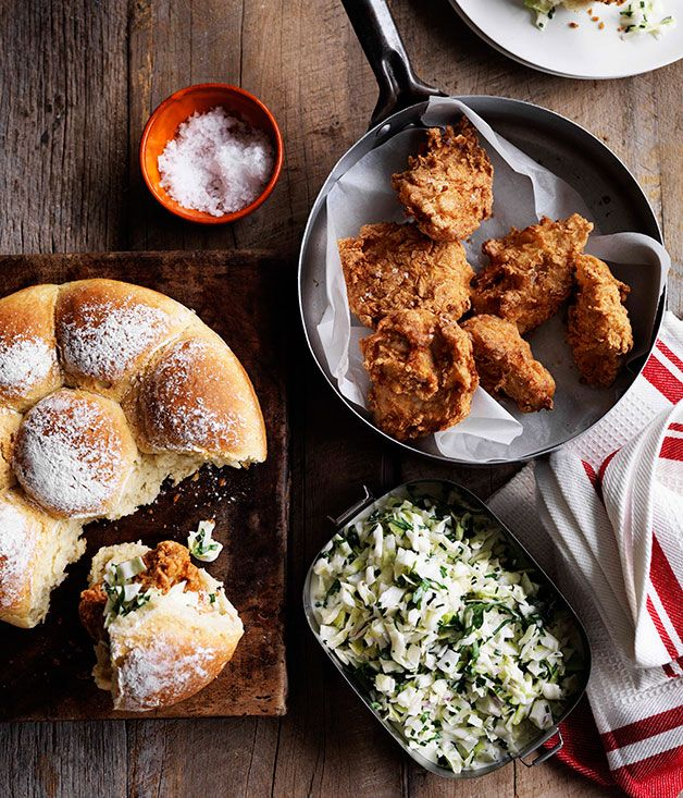 Fried chicken and coleslaw rolls